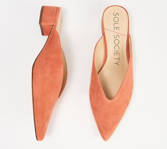 Sole Society Leather or Suede V-Cut Mules - Marleesa