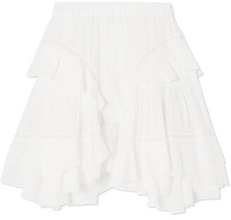 Etoile Isabel Marant Varese Ruffled Cotton-blend Voile Mini Skirt