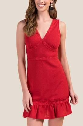 francesca's Demi Ruffled Hem Knit Dress - Red