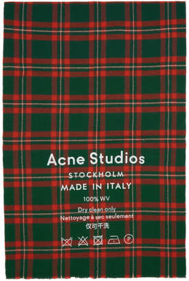 Acne Studios Green and Red Check Cassiar Scarf