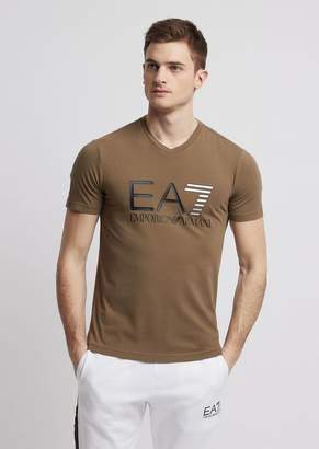 Emporio Armani Ea7 Stretch Cotton Train Logo T-Shirt With Logo Print