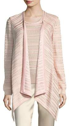 St. John Welted Sequined Drape Cardigan