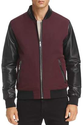 Karl Lagerfeld Paris Mixed-Media Bomber Jacket