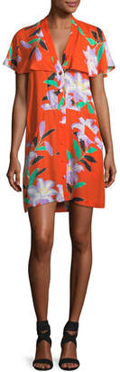 Diane von Furstenberg Short-Sleeve Open-Back Floral-Print Short Dress