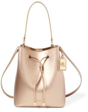 Ralph Lauren Leather Debby Drawstring Bag Gold/Birchwood One Size