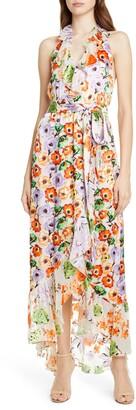 Alice + Olivia Evelia Asymmetrical Ruffle Maxi dress