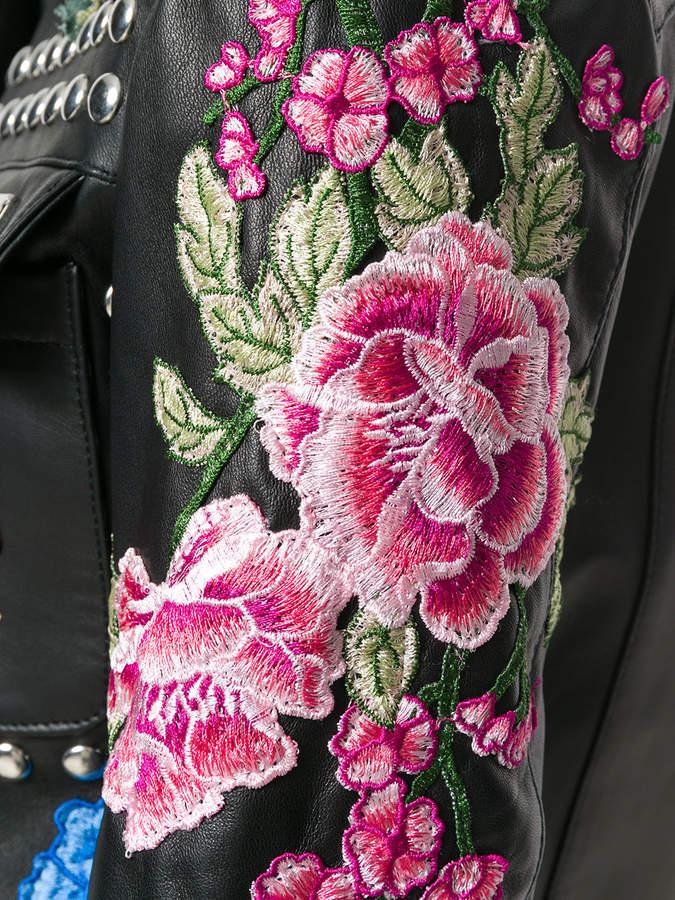 Philipp Plein studded rose patch jacket