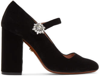 ALEXACHUNG Black Velvet Mary-Jane Crystal Flower Heels