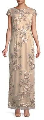 Alex Evenings Embroidered Cap Sleeve Coloumn Dress