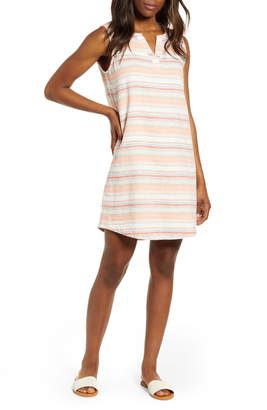 BeachLunchLounge Jaylene Stripe Sleeveless Linen & Cotton Shift Dress