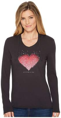 Life is Good Heart Love Hooded Smooth Tee Women's T Shirt