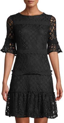 Julia Jordan 1/2-Sleeve Floral Lace Dress