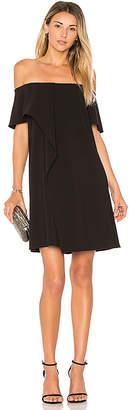 Halston Cold Shoulder Asymmetrical Drape Dress
