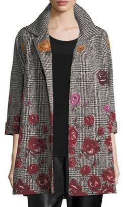 Caroline Rose Rose Plaid Jacquard Party Jacket, Petite