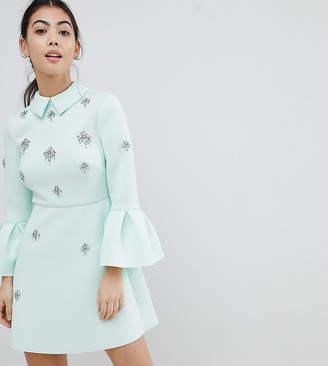 Asos scuba embellished a-line mini dress