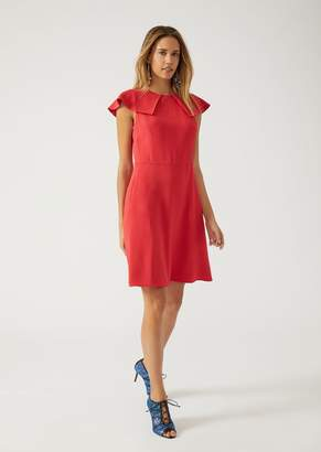 Emporio Armani Dress In Crepe With Flounces On The Shoulders