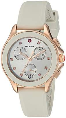 Michele Women's 'Cape Chrono' Swiss Quartz Stainless Steel and Silicone Casual Watch