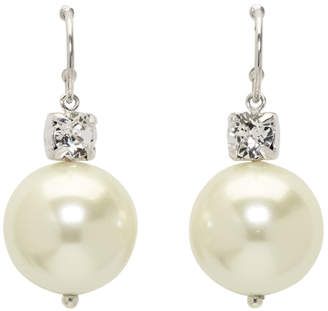 Simone Rocha Silver Pearl and Diamond Drop Earring