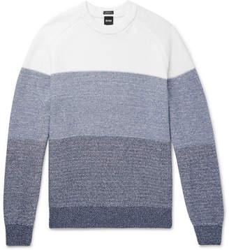 HUGO BOSS Colour-Block Mélange Cotton Sweater