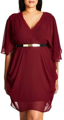 City Chic Belted Chiffon Faux Wrap Dress