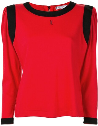 Saint Laurent Pre-Owned square shoulder long-sleeve top