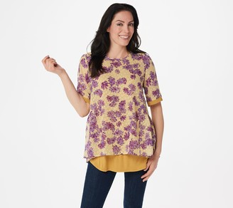 Logo By Lori Goldstein LOGO by Lori Goldstein Jacquard Woven Blouse with Knit Tank