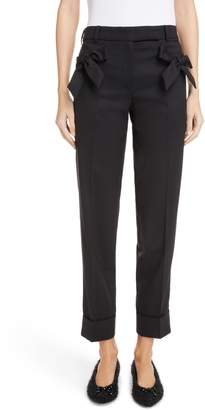 Simone Rocha Bow Pocket Straight Leg Stretch Wool Pants