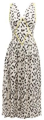 Self-Portrait Self Portrait Leopard Print Satin Jacquard Midi Dress - Womens - Black White