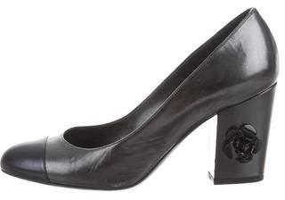 Chanel Camellia Cap-Toe Pumps