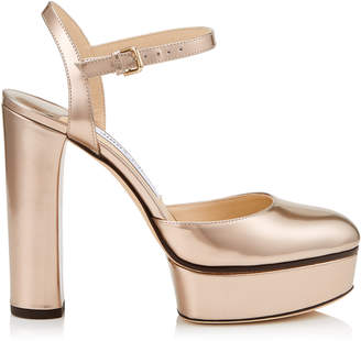 Jimmy Choo MAPLE 125 Ballet Pink Liquid Mirror Leather Platform Pumps