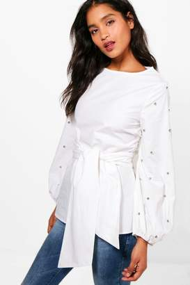 boohoo Tie Front Studded Sleeve Top