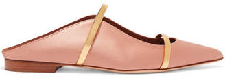 Malone Souliers Maureen Metallic Leather-trimmed Satin Point-toe Flats - Blush