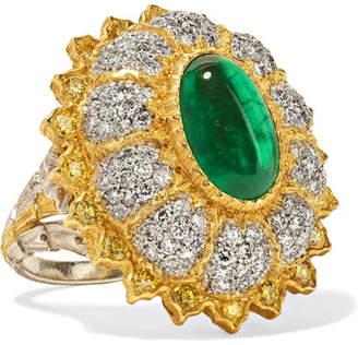 Buccellati 18-karat Yellow And White Gold, Diamond And Emerald Ring