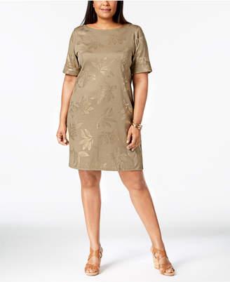 Karen Scott Plus Size Metallic-Print T-Shirt Dress, Created for Macy's