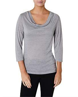 David Lawrence Long Sleeve Drape Cowl Neck Top