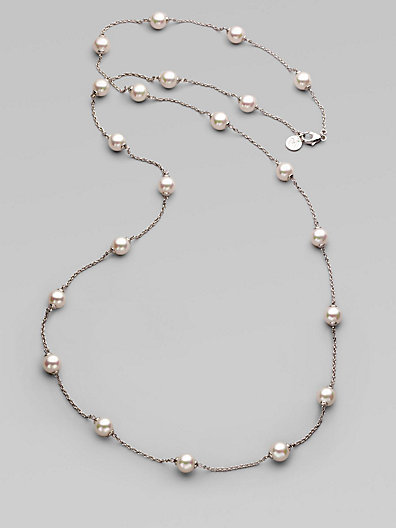 Majorica 8MM White Round Pearl Illusion Necklace