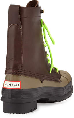 Hunter Original Rubber Lace-Up Two-Tone Boots, Brown/Green