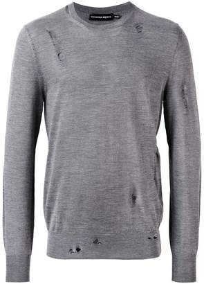 Alexander McQueen distressed crew neck sweater