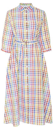 MDS Stripes Picnic Gingham Shirt Dress