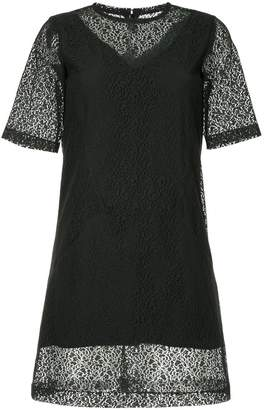 Neil Barrett sheer embroidered mini dress
