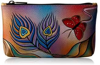 Anuschka Anna by Hand Painted Leather | Medium Organizer Pouch | Cosmetic Case | Peacock Butterfly