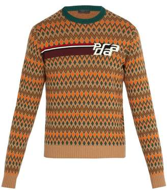 Prada Intarsia Logo Wool And Cashmere Blend Sweater - Mens - Green Multi