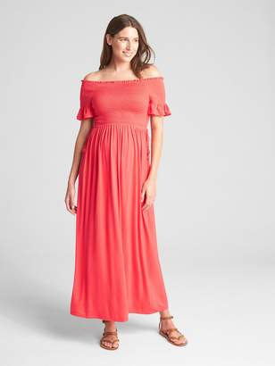 Gap Maternity Smocked Off-Shoulder Maxi Dress
