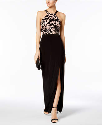 Night Way Nightway Sequined Scroll Slit Gown