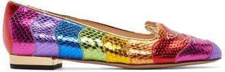 Charlotte Olympia Multicolor Metallic Rainbow Kitty Flats