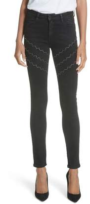 BROCKENBOW Emma Plaza Studded Skinny Jeans (Ghost Black)