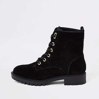 River Island Black faux fur lined lace-up ankle boots