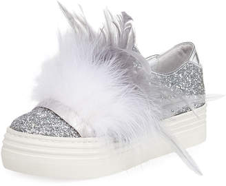 Neiman Marcus Here/Now Kate Feather-Embellished Glitter Sneakers, Silver