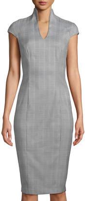 Neiman Marcus Military-Neck Herringbone Sheath Dress