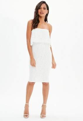 Missguided White Lace Bandeau Frill Midi Dress